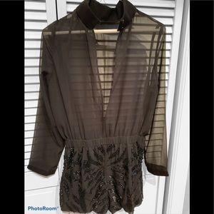 Black sequin short dressy romper